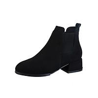 Giày Bốt Da Lộn Cạnh Chun Gót Vuông Cao 5cm