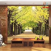 Tranh dán tường 3D mùa thu vàng con đường - vải lụa phủ kim sa (Kích thước theo yêu cầu)