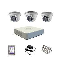 Trọn bộ 3 Camera HIKVISION bán cầu hồng ngoại 2MP - Hàng chính hãng