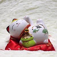 Mèo May Mắn Chiêu Tài Gốm Sứ Cao Cấp - Cao 11cm Có Khe Bỏ Tiền Tiết Kiệm Thích Hợp Để Bàn Làm Việc Hoặc Tặng Bạn Bè Hoặc Học Sinh Sinh Viên