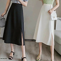 chân váy nữ dáng dài xẻ tà phong cách xinh xắn