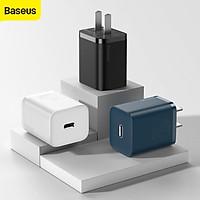 Bộ sạc nhanh 20W USB Type C Baseus Super SI Quick Charger QC3.0 cho iPhone 12 (1C, 20W, Chân dẹt) - Hàng chính hãng