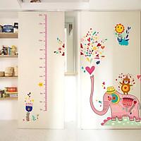 Decal dán tường thước đo voi hồng