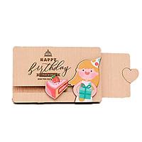 Thiệp gỗ kéo sinh nhật (Mẫu ngẫu nhiên)