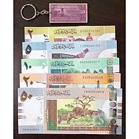 Tiền cổ thế giới, đủ bộ tiền 5 tờ của Sudan, sưu tầm (tặng kèm móc khóa hình tiền xưa)
