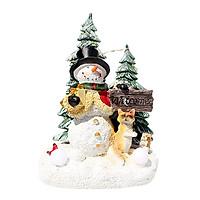 Resin Christmas Sculpture Decoration with Warm LED Light Santa Claus Snowman Reindeer Figurine Decoration Lighted Statue
