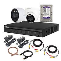 Trọn Bộ 2 Camera Tích Hợp Báo Động Dahua HD CVI 2MP  - Hàng Chính Hãng