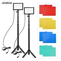 Andoer 2pcs USB LED Video Light Kit Photography Lighting 3200K-5600K 120pcs Beads 14-level Dimmable with 148cm/58in