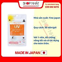 Viên uống chống nắng UV Fine Japan 30V, chống nắng toàn diện - Tặng túi zip 3 kẹo mật ong Senjaku