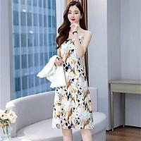 Women Dress Coat Fashion Slim Floral Printed Sling Dress Pure White Coat