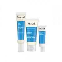 Bộ 3 sản phẩm giảm mụn Murad Rapid Relief Acne Spot Treatment - Srm Clarifying Cleanser 45ml - Kcn Oil-Control Mattifier SPF 15 PA++ 10ml