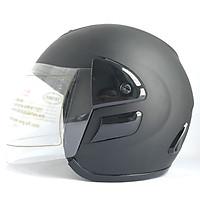 Mũ bảo hiểm trùm đầu 3/4 có kính - AGU A119 - Đen nhám