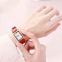 Đồng hồ thời trang nữ Huans Hmv1, mặt chữ nhật dây da