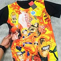 Áo Naruto, Sasuke sharingan, Gaara 3d Đen, áo thun Naruto Unisex Nam Nữ áo phông cổ tròn basic cộc tay thoáng mát, thấm hút mồ hôi, áo Anime Manga có size bé cho trẻ em mẫu mới