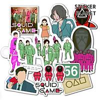 Bộ Sticker SQUID GAME Trò Chơi Con Mực  decal hình dán mũ bảo hiểm, laptop, ipad, vali, đàn