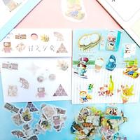 Combo 2 Bộ 32, 40 Sticker Hình Dán Mini Đồ Ăn Thức Uống Cửa Tiệm Và Cửa Tiệm Vui Vẻ