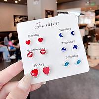 Set 6 đôi bông tai mini nữ dễ thương Hàn Quốc - Bông tai BT1