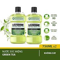 Bộ 2 Nước Súc Miệng Ngừa Sâu Răng Listerine Natural Green Tea 750ml x2 chai
