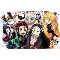 Poster A4 dán tường Anime, decal 21x30 trang trí có keo Demon Slayer Kimetsu no Yaiba (8).png