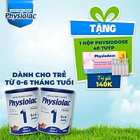 (Tặng 1 hộp Physiodose) Bộ 2 lon sữa bột Physiolac 1 400g (Bổ sung DHA)