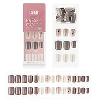 Bộ 30 Móng Tay Gel Tự Dán Press & Go Kiss New York Nail Box - Nudie Brown (KPNS21K)