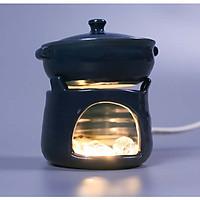 Đèn gốm bếp đơn xanh coban Gốm Sứ Bát Tràng trang trí nội thất, đèn để bàn phòng ngủ hàng chính hãng.