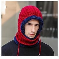 Mũ len nam nữ trùm liền khăn cổ lót nỉ bông siêu ấm -  Thích hợp đội phượt - ngày rét đậm