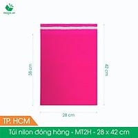 MT2H - 28x42 cm - Túi nilon gói hàng - 500 túi niêm phong đóng hàng màu hồng