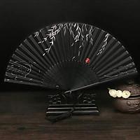 Quạt cổ trang lá liễu đen thanh tao phong cách Trung Quốc quà tặng xinh xắn tặng ảnh Vcone