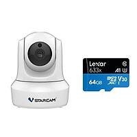Combo Camera Wifi IP C29s 2.0 FHD 1080p Vstarcam , Camera không dây trong nhà (Trắng Bạch Tuyết ) , Kèm thẻ nhớ 64GB A1 4K Lexar - Hàng chính hãng