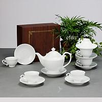 Bộ ấm chén men trắng đèn thần gốm sứ Bát Tràng (bộ bình uống trà, bình trà)