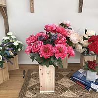 Bình Hoa Giả - Hoa Trà Nhị Đen - Hoa Vải Cao Cấp - Hoa Đẹp Để Bàn