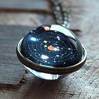 Solar System Necklace Pendant, Planet Necklace Double Sided Glass Dome 16mm