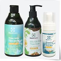 Combo SỮA TẮM THẢO MỘC MOMCARE siêu dưỡng ẩm, tẩy tế bào chết và DẦU GỘI 11 LOẠI THẢO DƯỢC MOMCARE giảm rụng tóc, giảm gầu ngứa tặng DUNG DỊCH VỆ SINH THẢO MỘC MOMCARE khử mùi hôi, nuôi dưỡng vùng kín