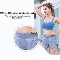 Women 2 in 1 Running Shorts Quick-Dry Sport Active Workout Gym Yoga Shorts with Pocket