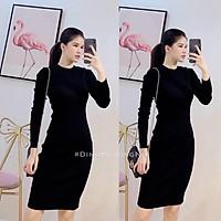 váy body dài tay cổ tròn chất cotton tăm 3 màu