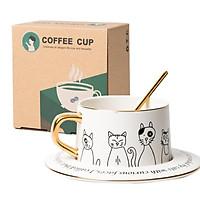 Set cốc sứ và đĩa uống cafe có kèm thìa in hình mèo 250ml