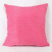 Rose Red Corduroy Plush Throws Cushion Cover Home Decorative Pillow Case