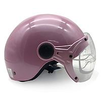 Mũ Bảo Hiểm Nửa Đầu Có Kính Protec Hiway Màu Hồng Nữ Tính Chống Bụi Chống Nắng An toàn (Mẫu Mới) - Hàng Chính Hãng