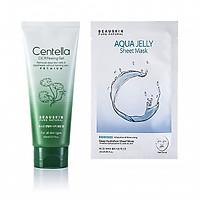 Combo Tẩy da chết tái tạo phục hồi da Beauskin Centella Cica và Mặt nạ cấp ẩm sâu Aqua Jelly Sheet Mask - Hàn Quốc Chính Hãng