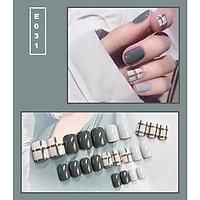 Bộ 24 móng tay giả nail thời trang họa tiết bắt mắt chống thấm nước (E031)