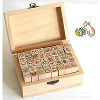 Bộ 40 con dấu gỗ trang trí hình Mèo dễ thương