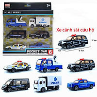 Đồ chơi mô hình 6 xe cảnh sát hình sự KAVY No.8807 nhiều màu sắc bằng kim loại