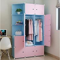 Tủ nhựa lắp ghép 15 ô màu xanh trời, cửa hồng, 3 ô xéo, 2 treo