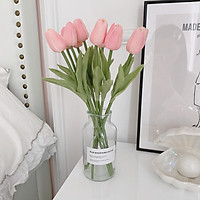Hoa Giả - Hoa Tulip Camelia ( Gồm 10 Bông + Lọ Thủy Tinh Cao Cấp), Có Mùi Thơm, Chất Liệu Pu Cao Cấp Cực Giống Thật