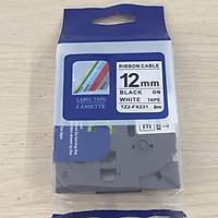 Nhãn TZ2-FX231 siêu dẻo - Chữ đen trên nền trắng 12mm - Hàng nhập khẩu