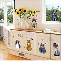Decal dán tường dán kính dán tủ những bạn mèo đáng yêu