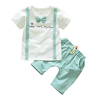 Cotton O-Neck 1-4T Bow light blue Summer Casual Baby Boy Cute T-Shirt And Pant Kit Kids Toddler Two-piece Outfit Set S/M/L/XL