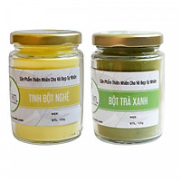 Combo Bột trà xanh và Tinh bột nghệ Bảo Nam (mỗi hũ 100gr)