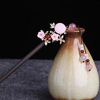 Trâm cài tóc nữ cổ trang hồng nhật hoa phong cách Trung Quốc